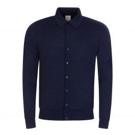 Navy Merino Wool Button-Through Cardigan