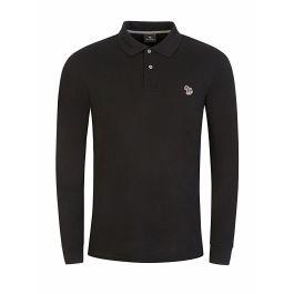 Black Long-Sleeve Zebra Polo Shirt