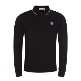 Black Long-Sleeve Compass Logo Polo Shirt
