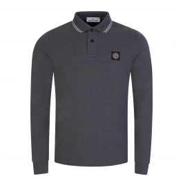 Grey Stretch Cotton Piqué Long-Sleeve Polo Shirt