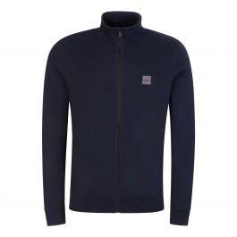 Dark Blue Casual Cotton Woven Logo Patch Sweatshirt