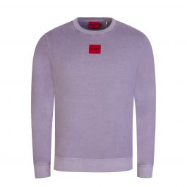 Mauve French-Terry Cotton Red Logo Label Sweatshirt