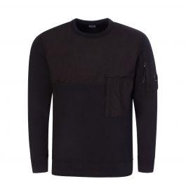 Black Diagonal Fleece Mixed Utility Sweatshirt