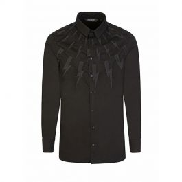 Black Slim-Fit Embroidered Thunderbolts Shirt