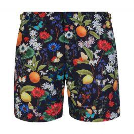 Navy Bulldog Botanical-Print Swim Shorts