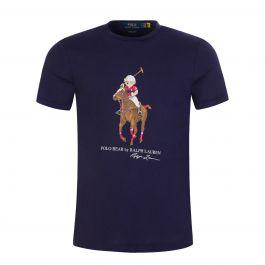 Navy Custom Slim-Fit Polo Bear Jersey T-Shirt