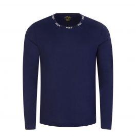 Navy Logo Collar Sleep T-Shirt