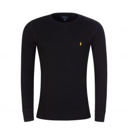 Black Waffle-Knit Sleep T-Shirt