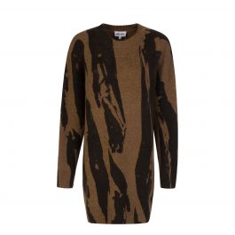 Brown Intarsia Knitted Dress
