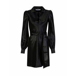 Di Lorenzo Serafini Black Satin Plunge Mini Dress