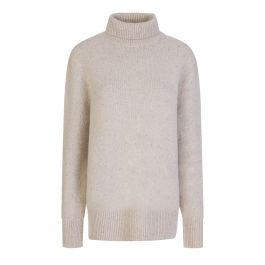Beige Tweed Knit High Neck Jumper