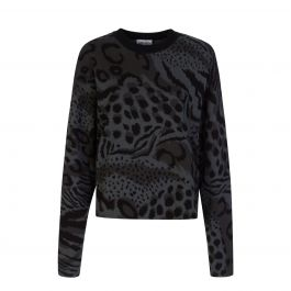 Grey Animal Print Knitted Jumper