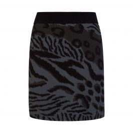 Green Animal Print Knitted Skirt