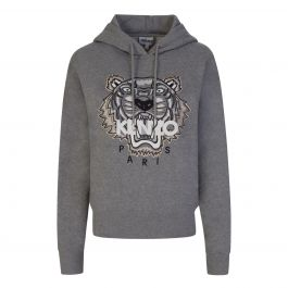 Grey Embroidered Tiger Hoodie