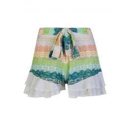 White/Green Stripe Frill Shorts