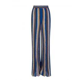 Blue Wide Knit Lamé  Trousers
