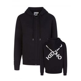 Black Cross Logo Hooded  Zip-Through